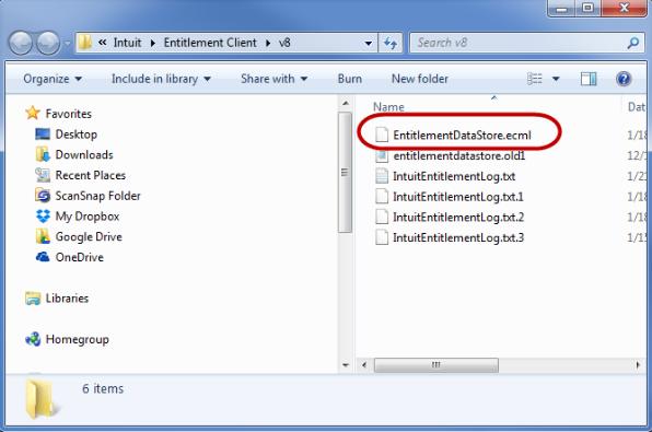 Delete the QuickBooks entitlementDataStore.ecml file