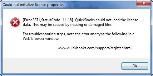 QuickBooks error message 3371 with status code 11118