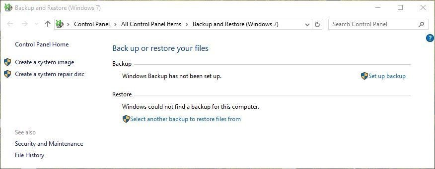 Recover photos with 'Backup and Restore' in Windows 7