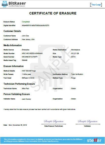 Bitraser-data Eraser Certificate