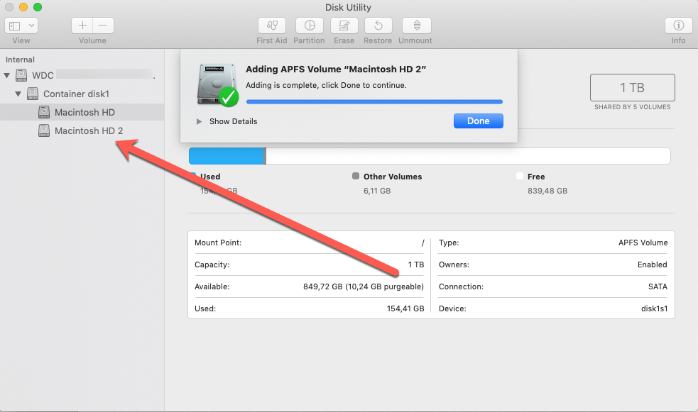 APFS volume in Container Added