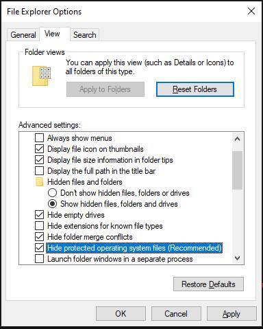 Show hidden files, folders and drives - File Explorer