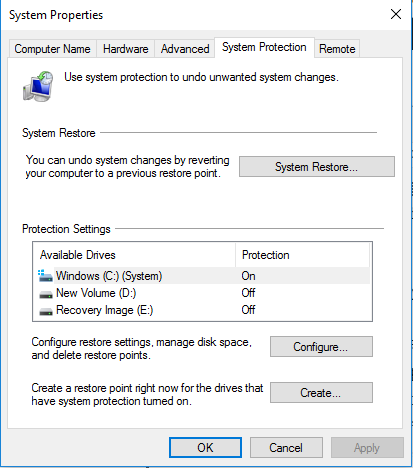Perform system restore on Windows