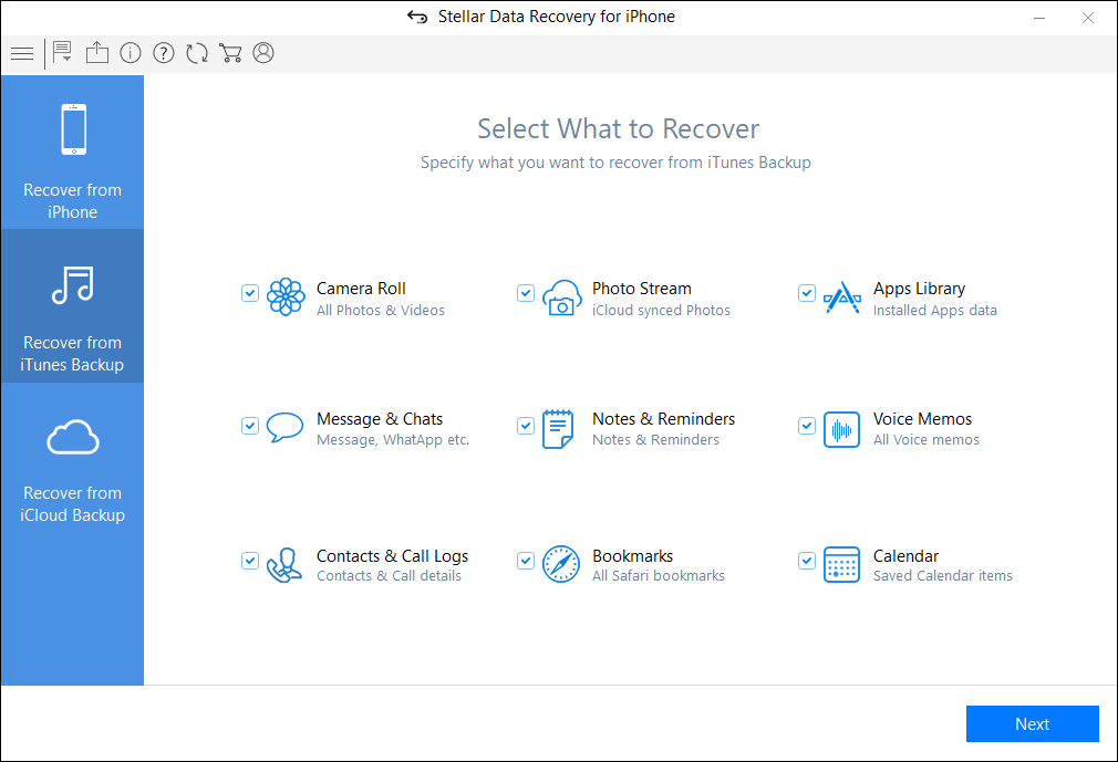 Recover from iTunes Backup 1