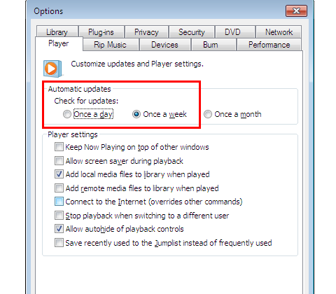 Windows Media Player Click Player Tab for Automatic Updates