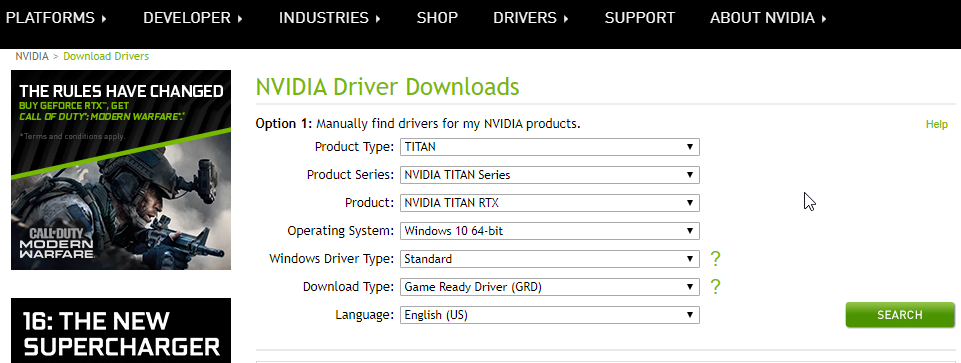 Nvidia drivers Download window