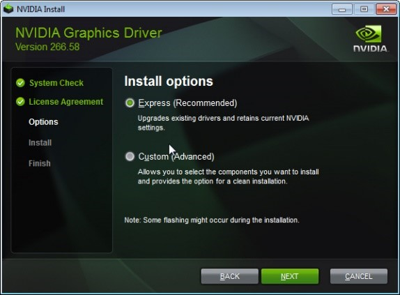 Nvidia Graphics Driver install options