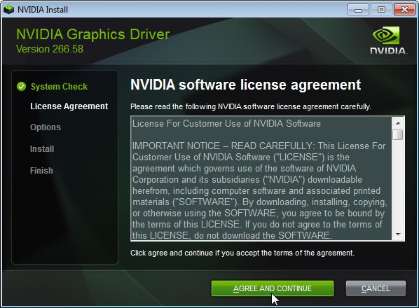 Nvidia Graphics Driver Installation window