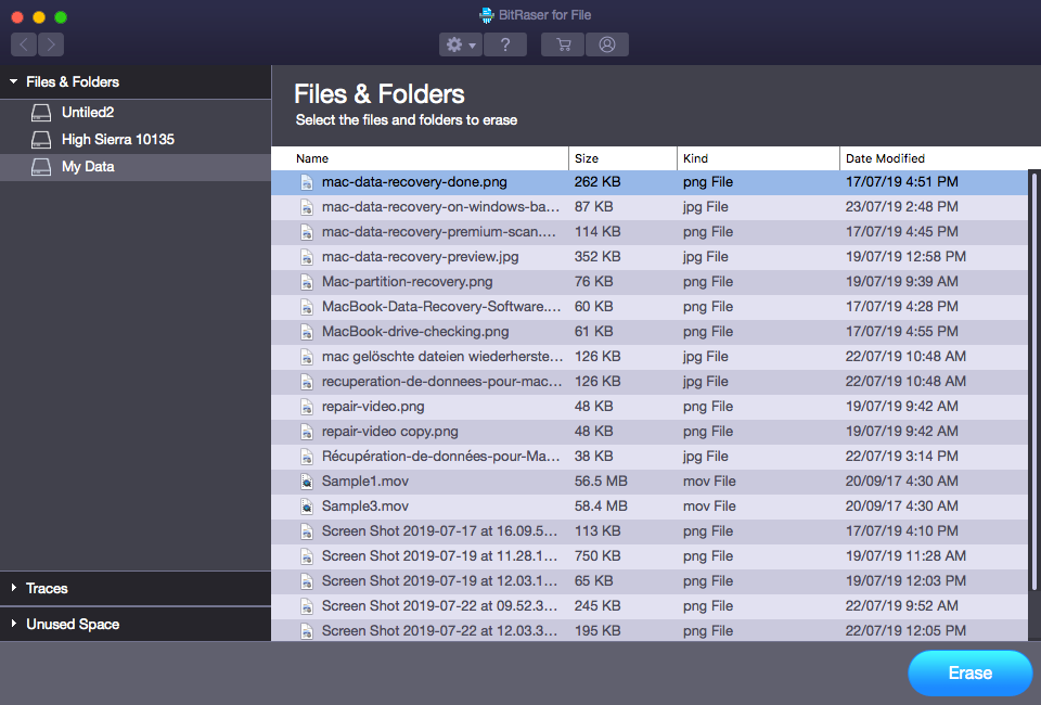 Select Files and Folders to Erase