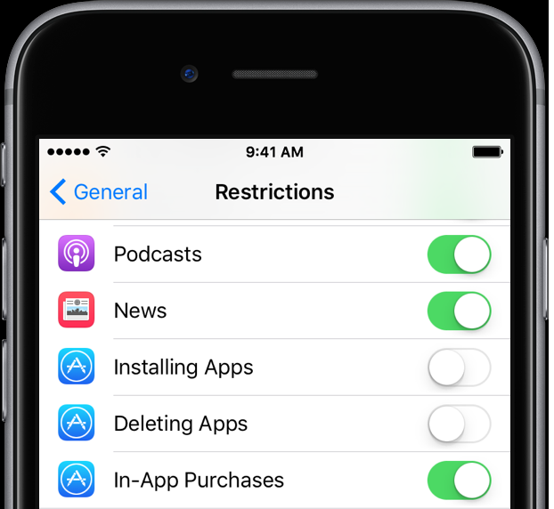 disable apps restrictions on iPhone