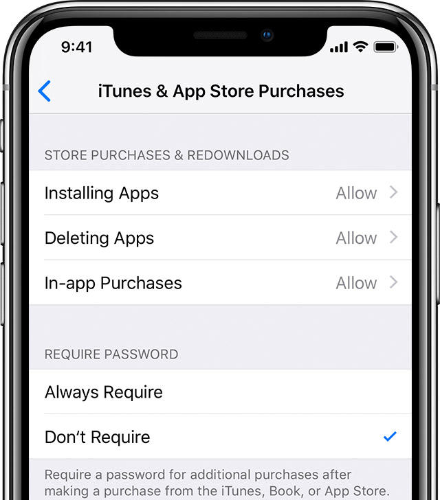 enable App store purchases on iPhone