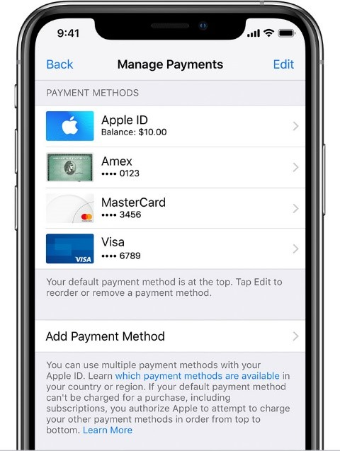 update or change the payment setting on iPhone