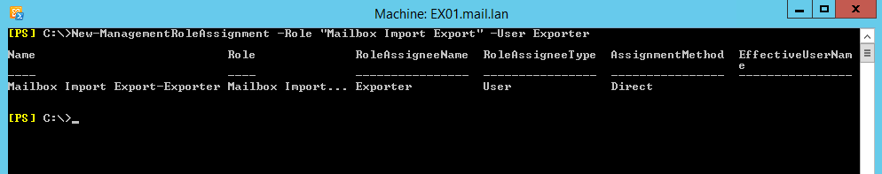 Create PST from Exchange Server