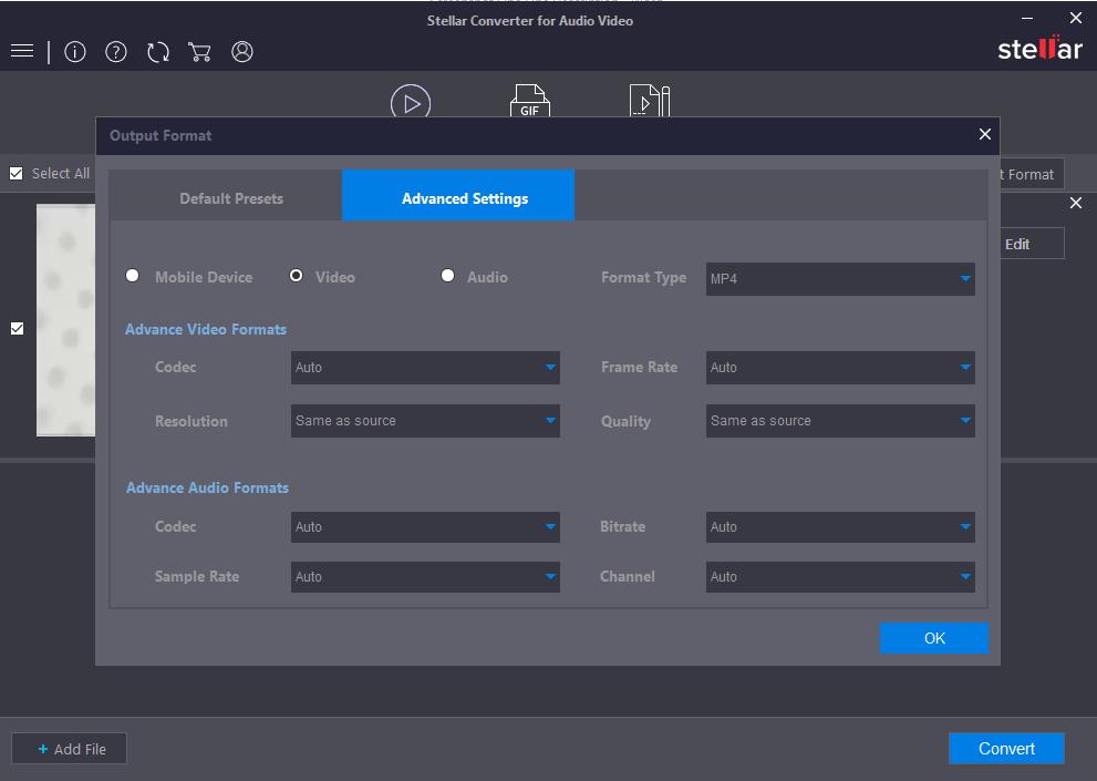 Advance Edit Output Formats