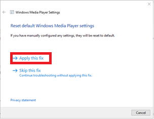 Steps to fix Windows Media Player Settings - Apply as Fix