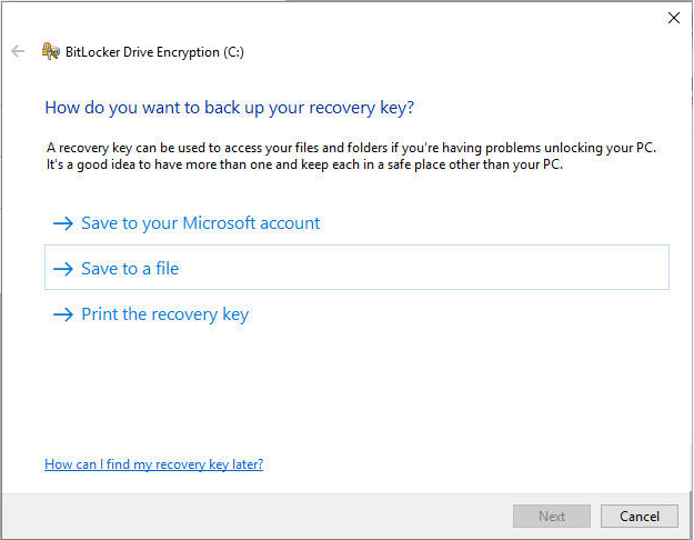 Where can you find your BitLocker Recovery Key?