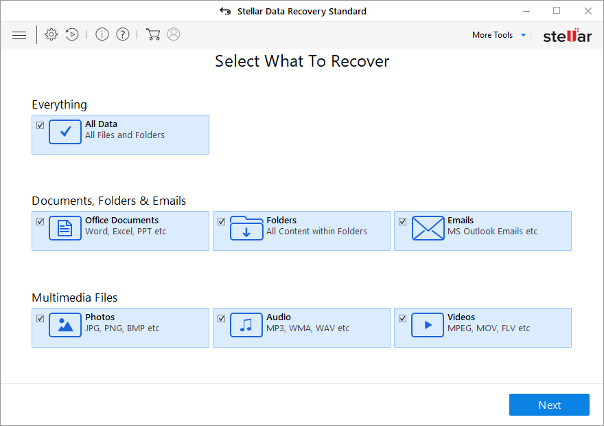 Select What Type of File You want recover