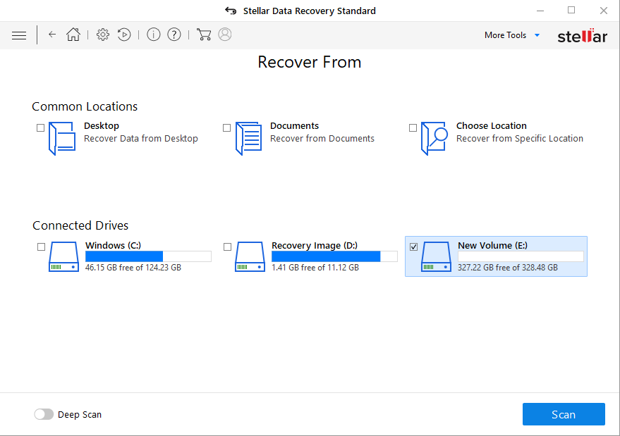 Select Drive to Recover Data