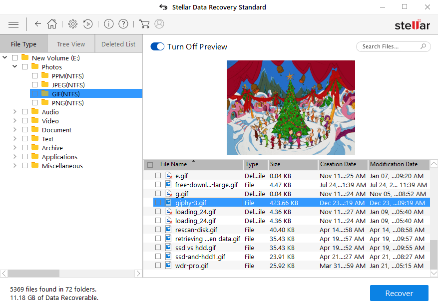 Preview Recoverable Data