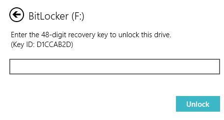 BitLocker : Enter the 48-digit recovery key. Click Unlock