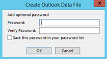 Create outlook data file