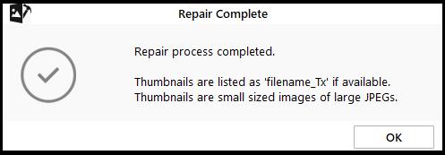 Repaired corrupt photo file in Windows 10