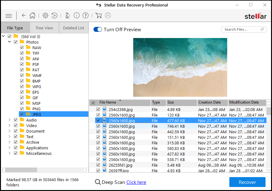 Recovered Files can be previewed