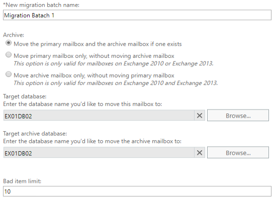 Target databases for the mailbox and archive and select how you would want the migration being just mailbox