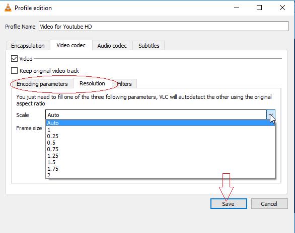 Encoding Parameters-Resolution Tabs-VLC