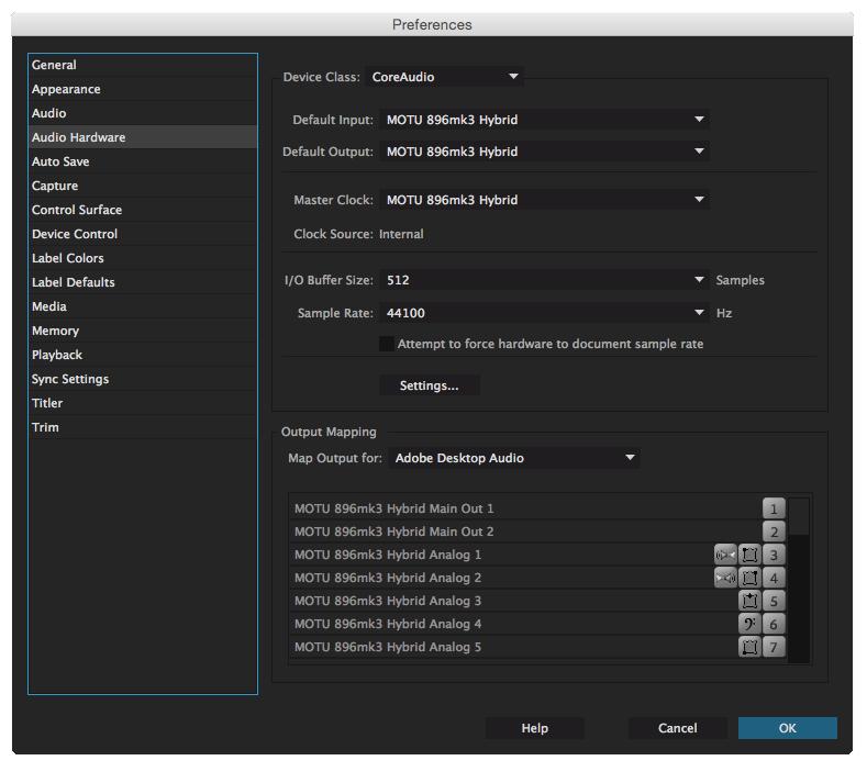Premiere Pro Audio Hardware settings window on Mac