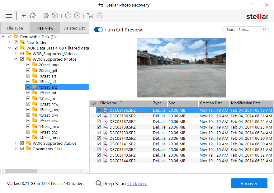 Stellar Photo Recovery - Preview Deleted Photos from Sony Camera
