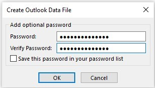 creating outlook data file