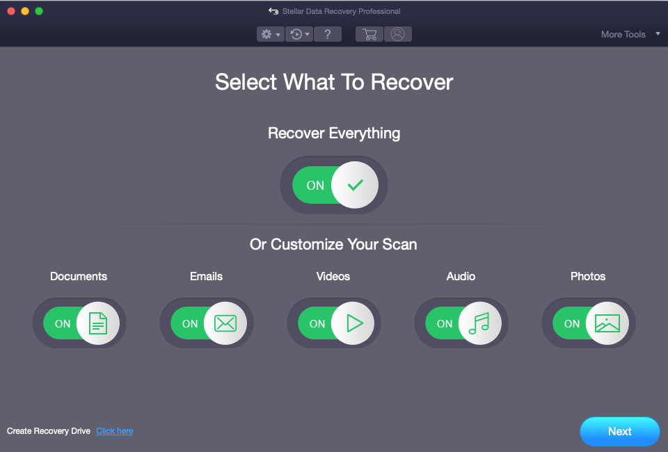 Mac data recovery customize scan on USB drive