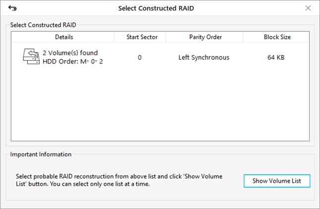 Select Constructed RAID