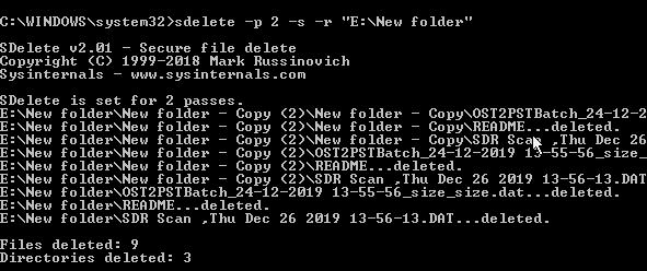 command wipes all the files
