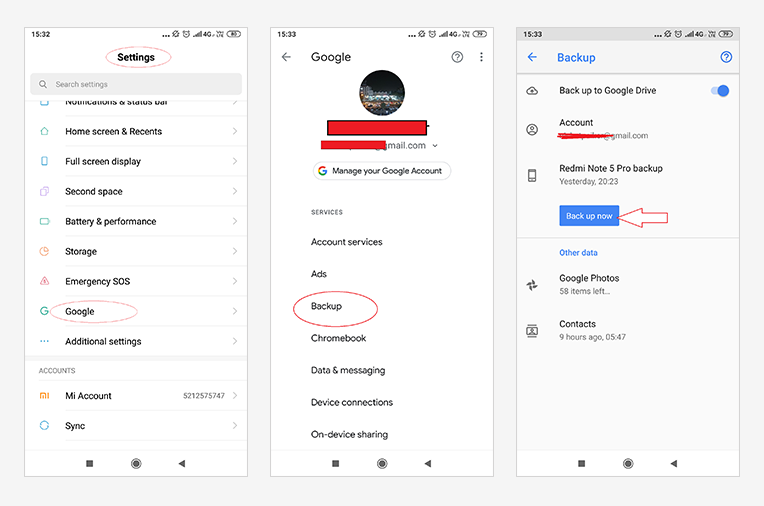 How to back up Android data on Google Drive