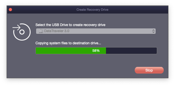 recovery drive creation