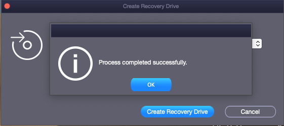 recovery drive created
