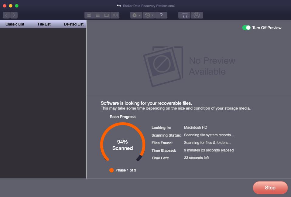 Deep Scan on Macintosh HD