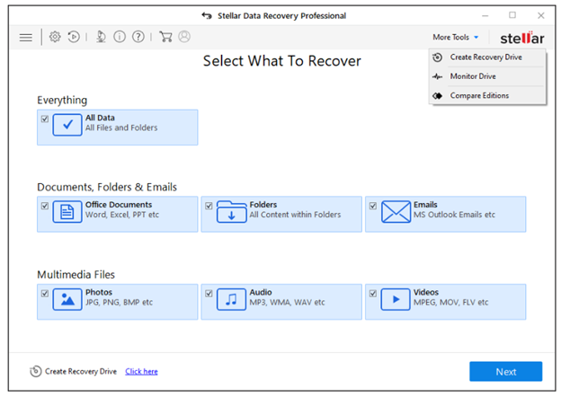 Stellar Data Recovery Professional for Windows screen