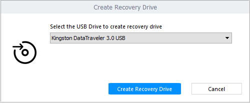 Create Recovery drive screen in Stellar Data Recovery Professional for Windows