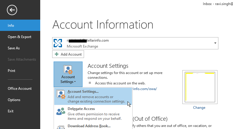 Access Outlook Account settings