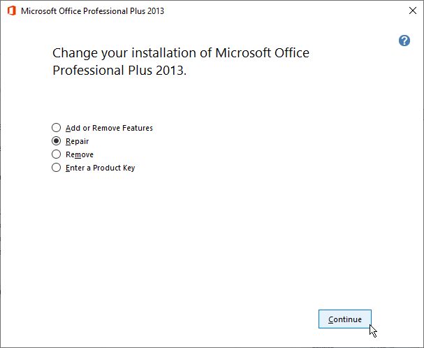 Repair MS Office Installation to fix Outlook issues