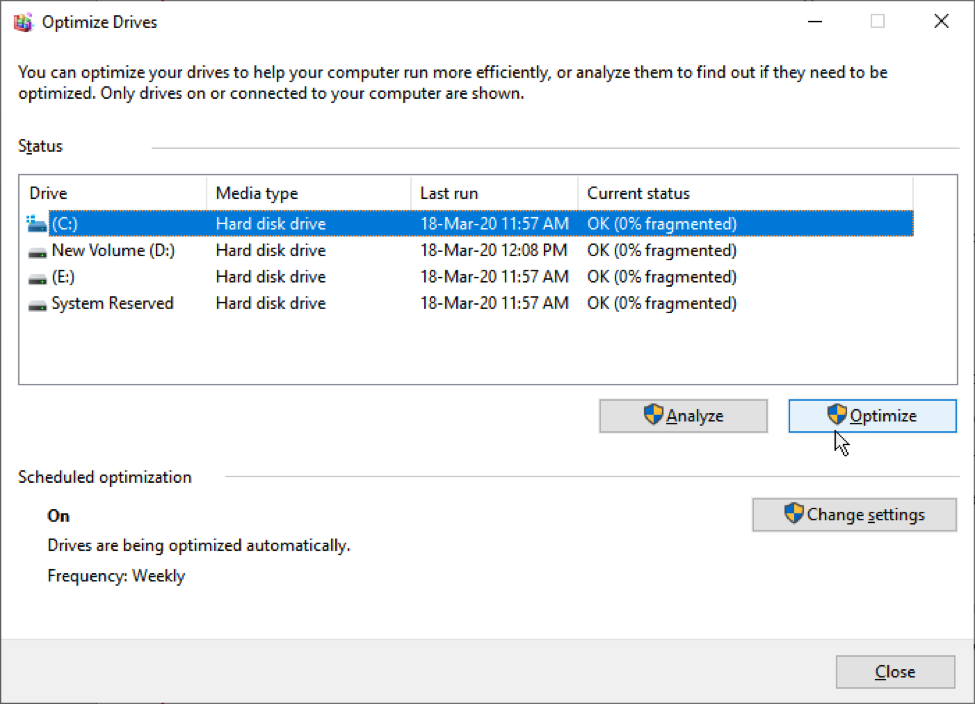 Select hard drive volume to optimize