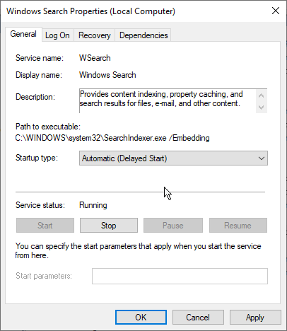 Changing Startup Type of Windows Search Properties