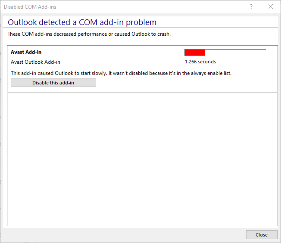 Outlook COM Add-In Disable