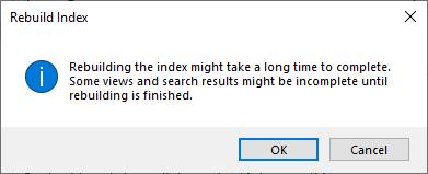 Confirm Outlook Index Rebuild