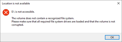 Drive not recognized error.