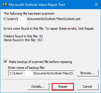 Press Repair to Repair PST file