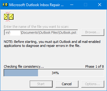 click Start to scan the PST file for errors